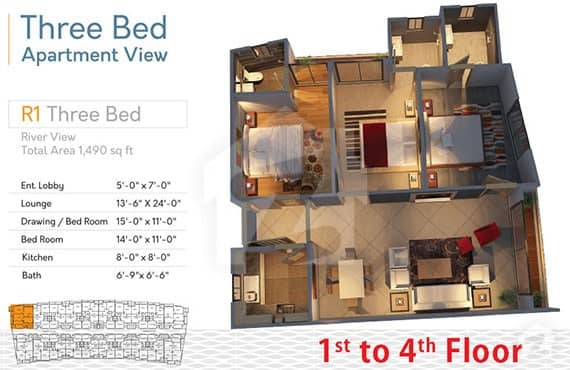 River Walk 3 Bed R-1 Layout
