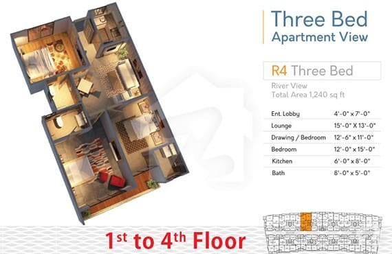 River Walk 3 Bed R-4 Layout