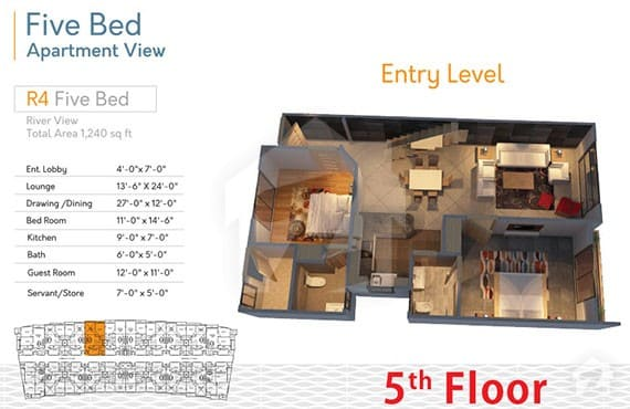 River Walk 5 Bed R-4 Layout
