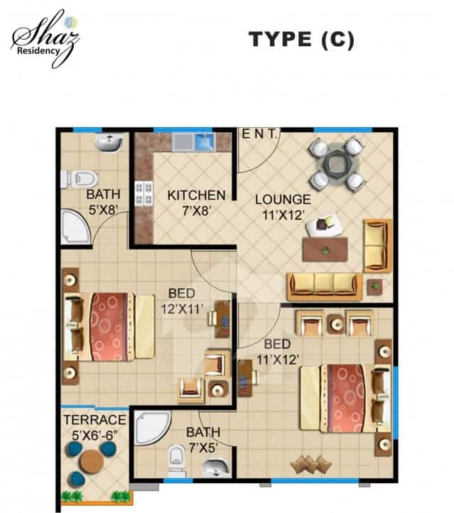 Shaz Residency 2 Bed Type C Plan