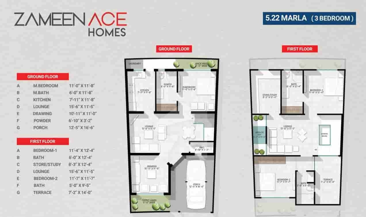 Zameen Ace Homes 5.22 Marla 3 Bed