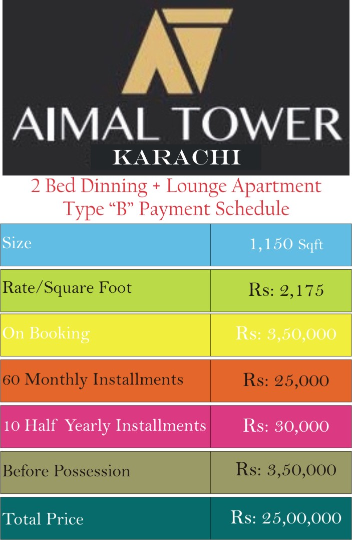 Aimal Tower 1150 Sqft Type B Payment Plan