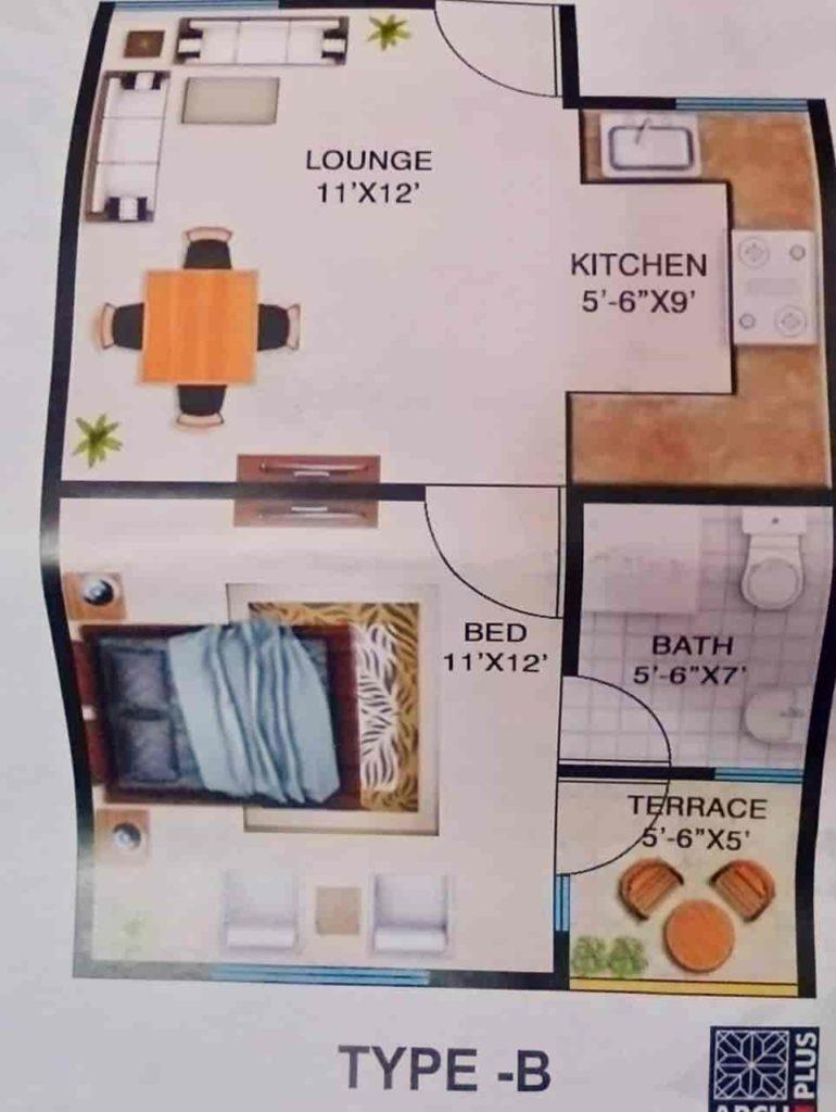 Aimal Tower Karachi 1 Bed Type B Layout