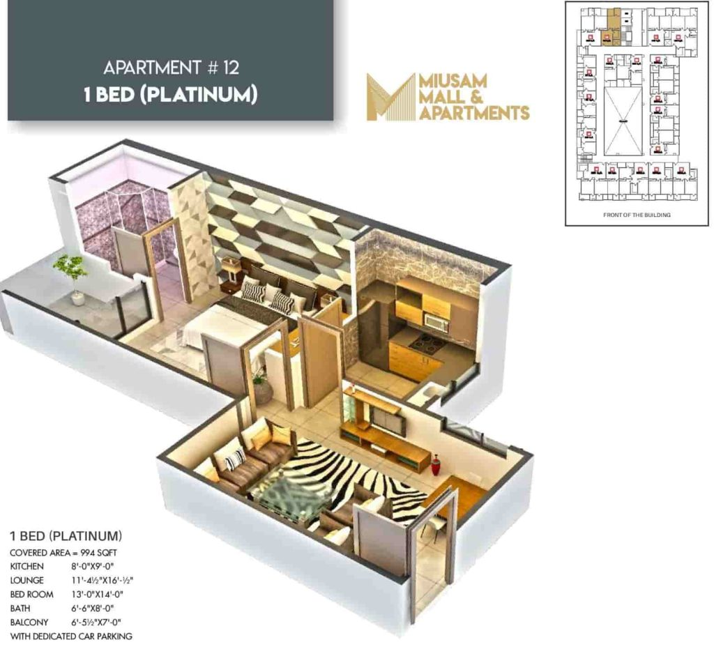 Miusam 1 Bed Platinum Apartment Layout