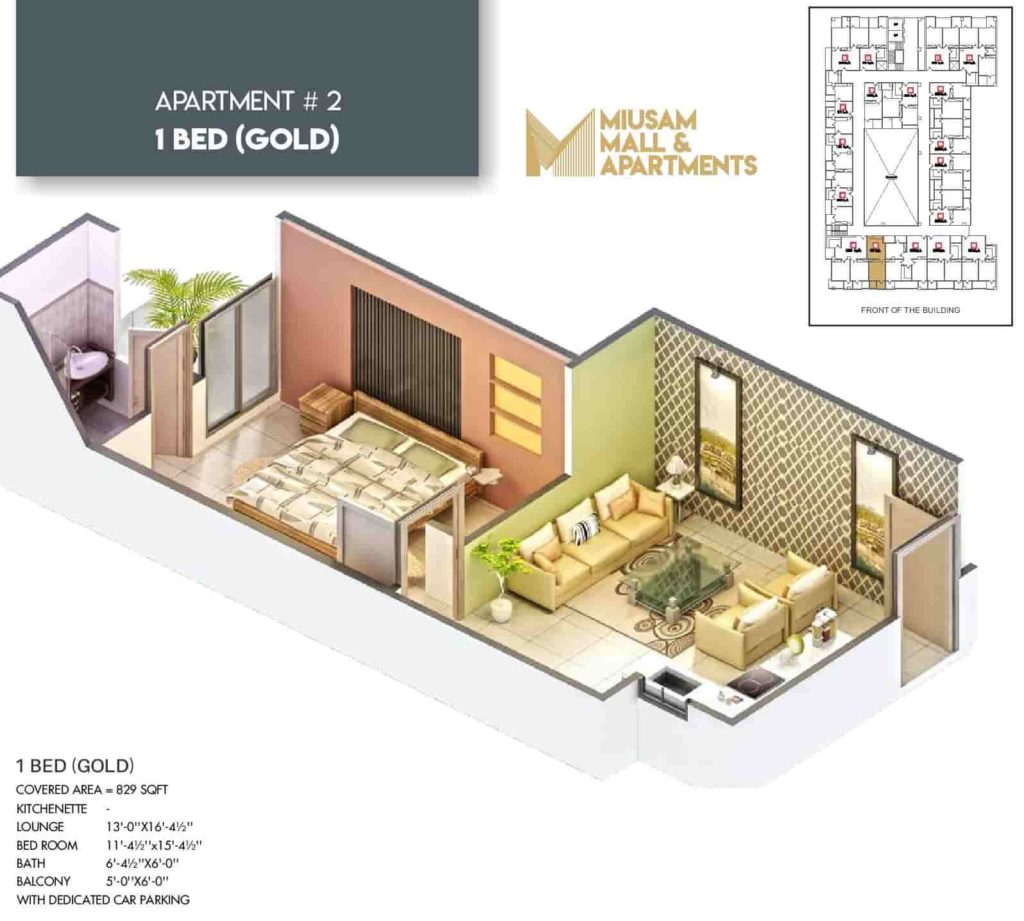 Miusam Mall 1 Bed Gold Apartment Layout