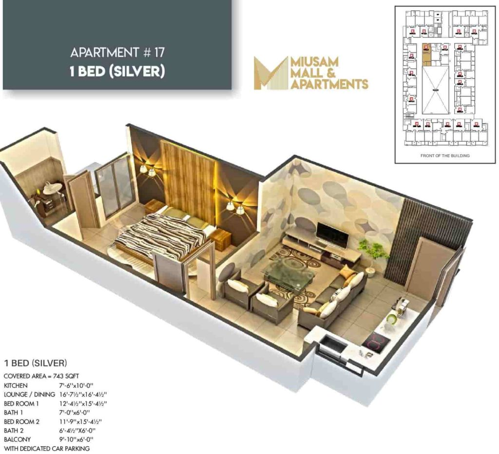 Miusam Mall 1 Bed Silver Apartment Layout