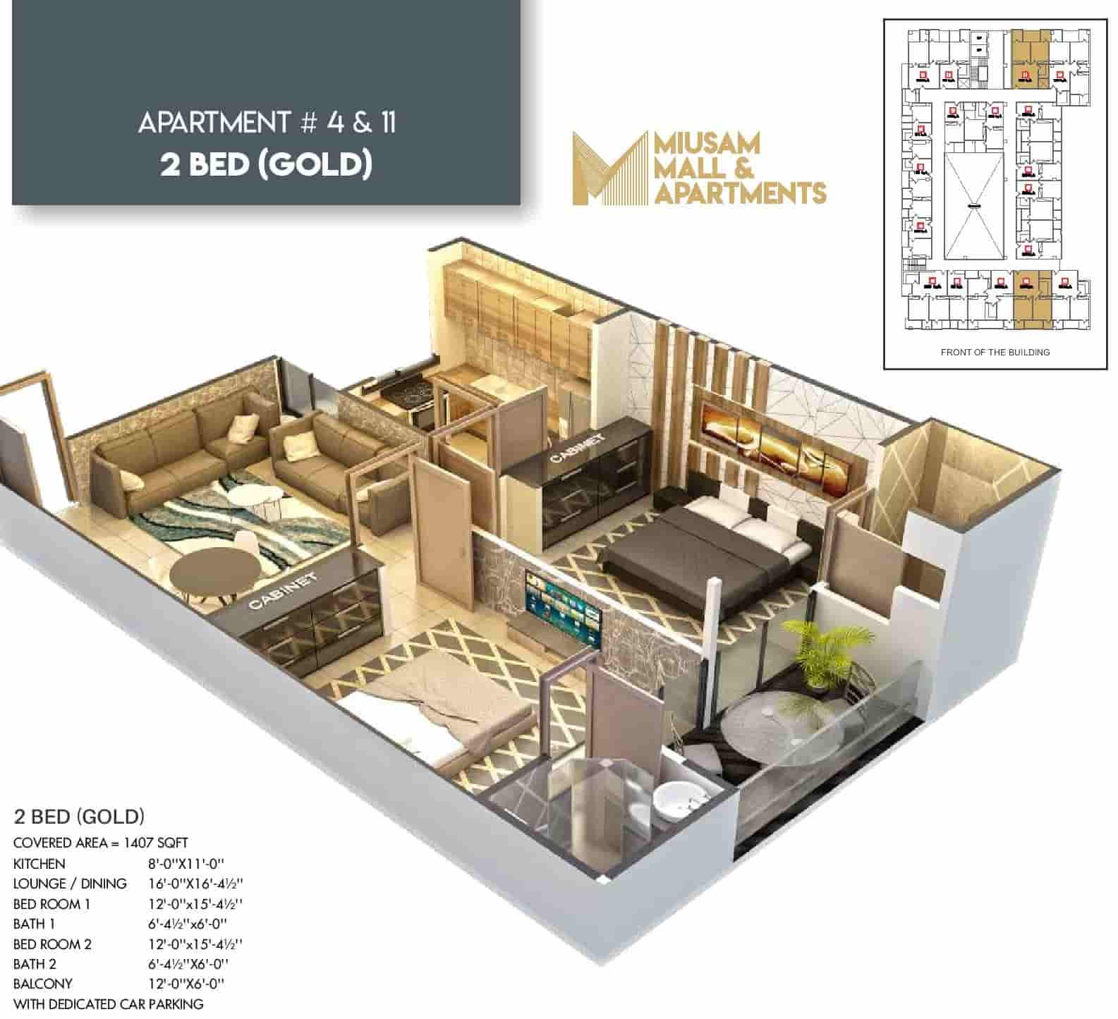 Miusam Mall 2 Bed Gold Apartment 1 Layout