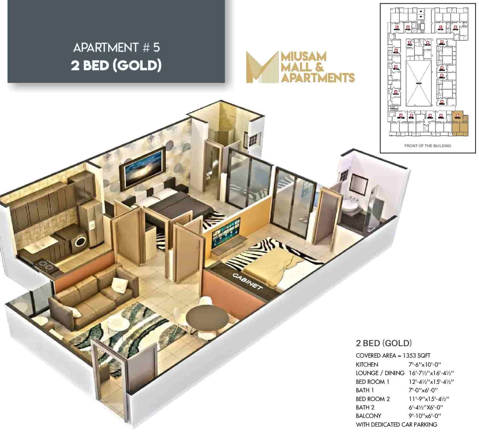Miusam Mall 2 Bed Gold Apartment 2 Layout