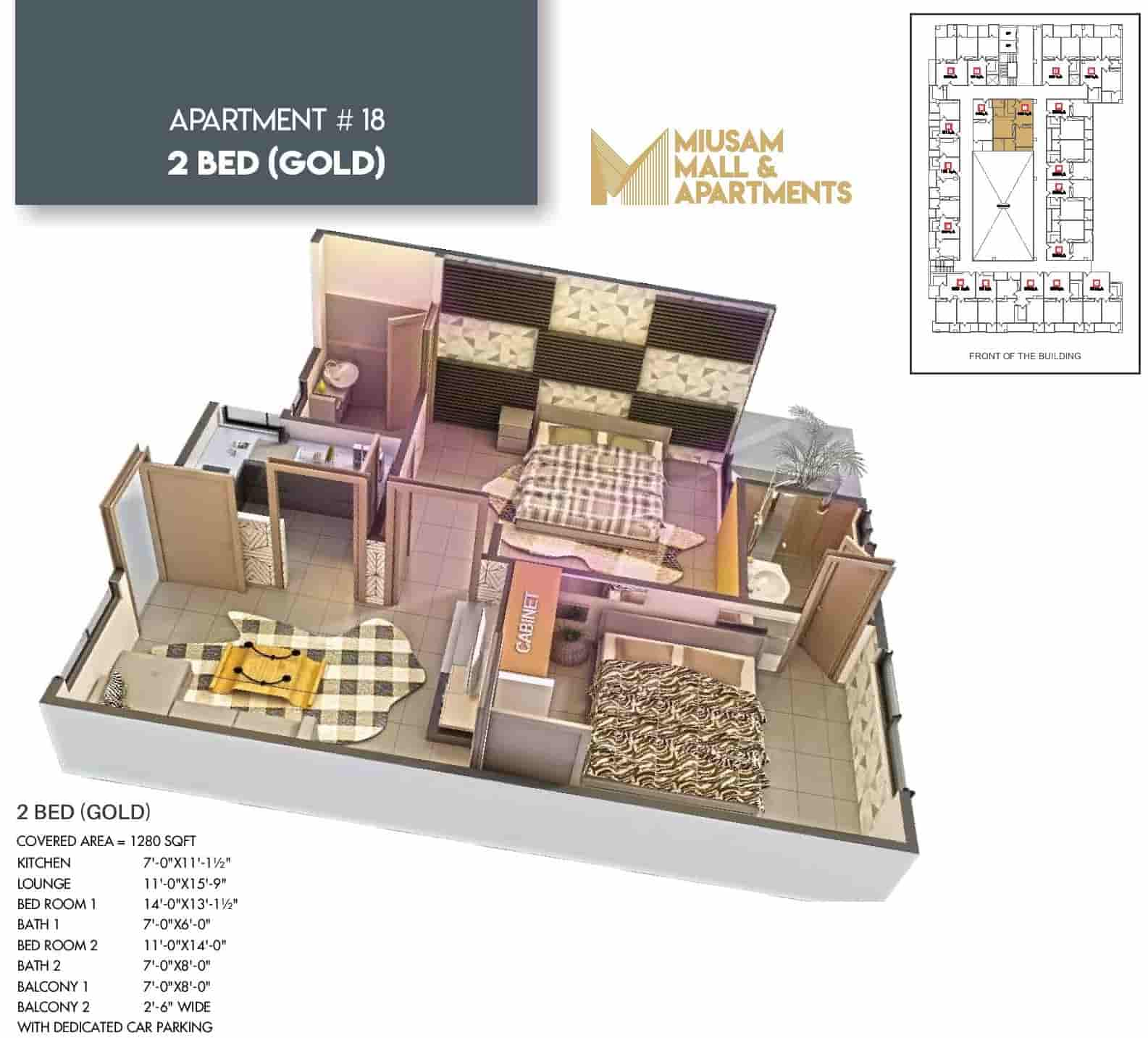 Miusam Mall 2 Bed Gold Apartment 3 Layout