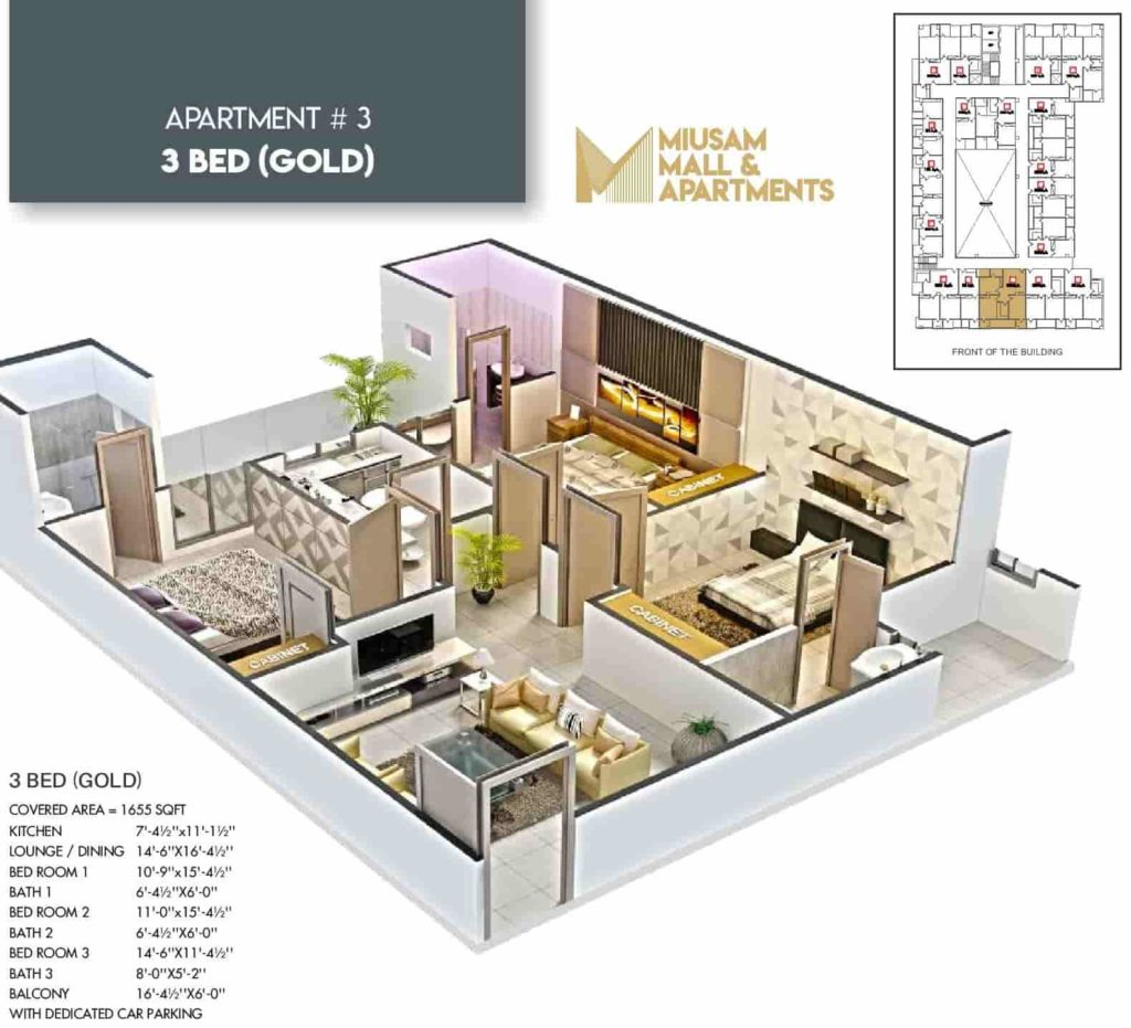 Miusam Mall 3 Bed Gold Apartment Layout