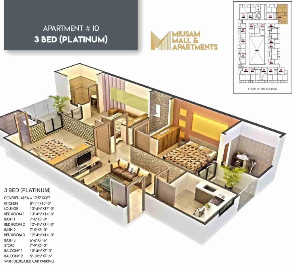 Miusam Mall 3 Bed Platimum Apartment Layout