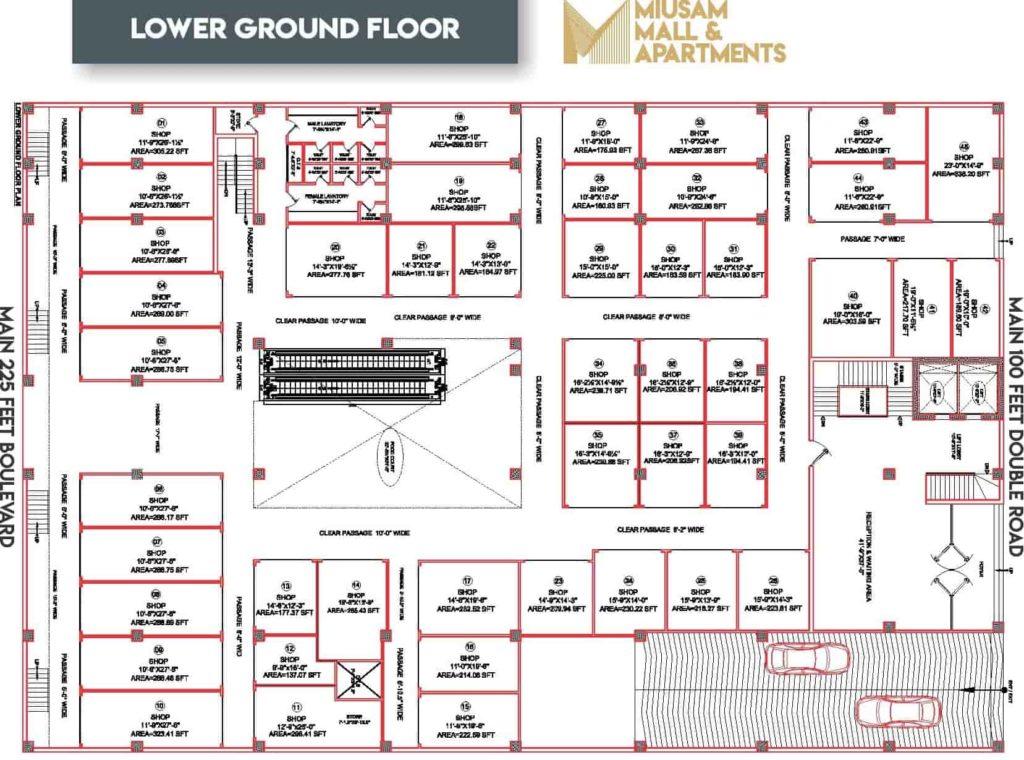 Miusam Mall Lower ground Floor Plan-min