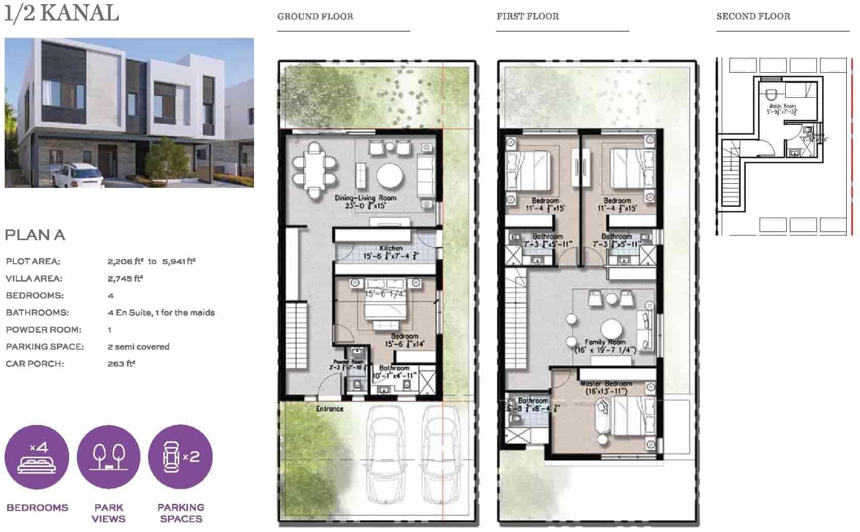Eighteen 10 Marla Villa Layout Plan A