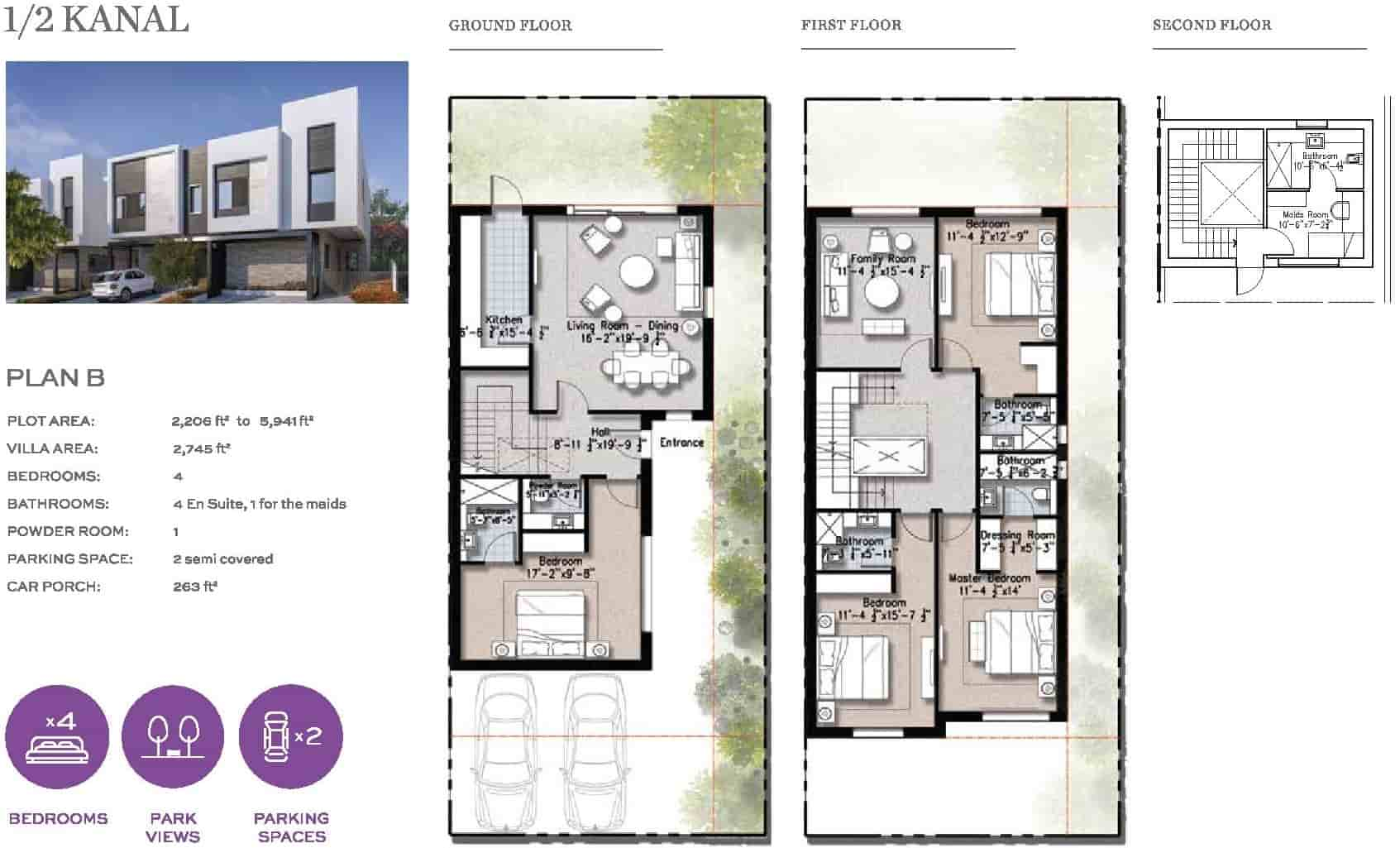 Eighteen 10 Marla Villa Layout Plan B