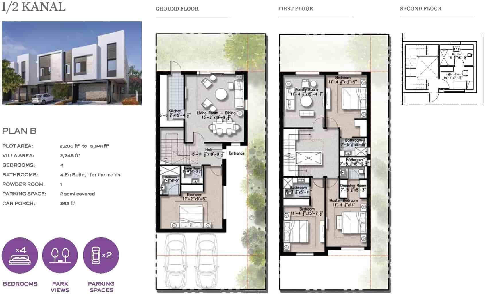 Eighteen 10 Marla Villa Layout Plan B