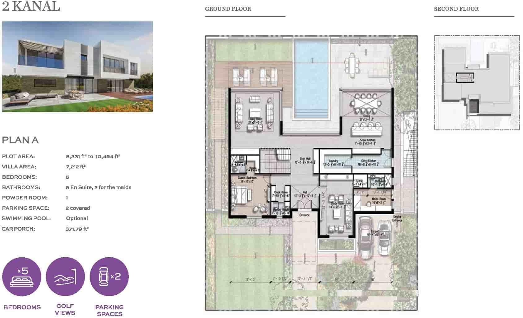 Eighteen 2 Kanal Villa Layout Plan A