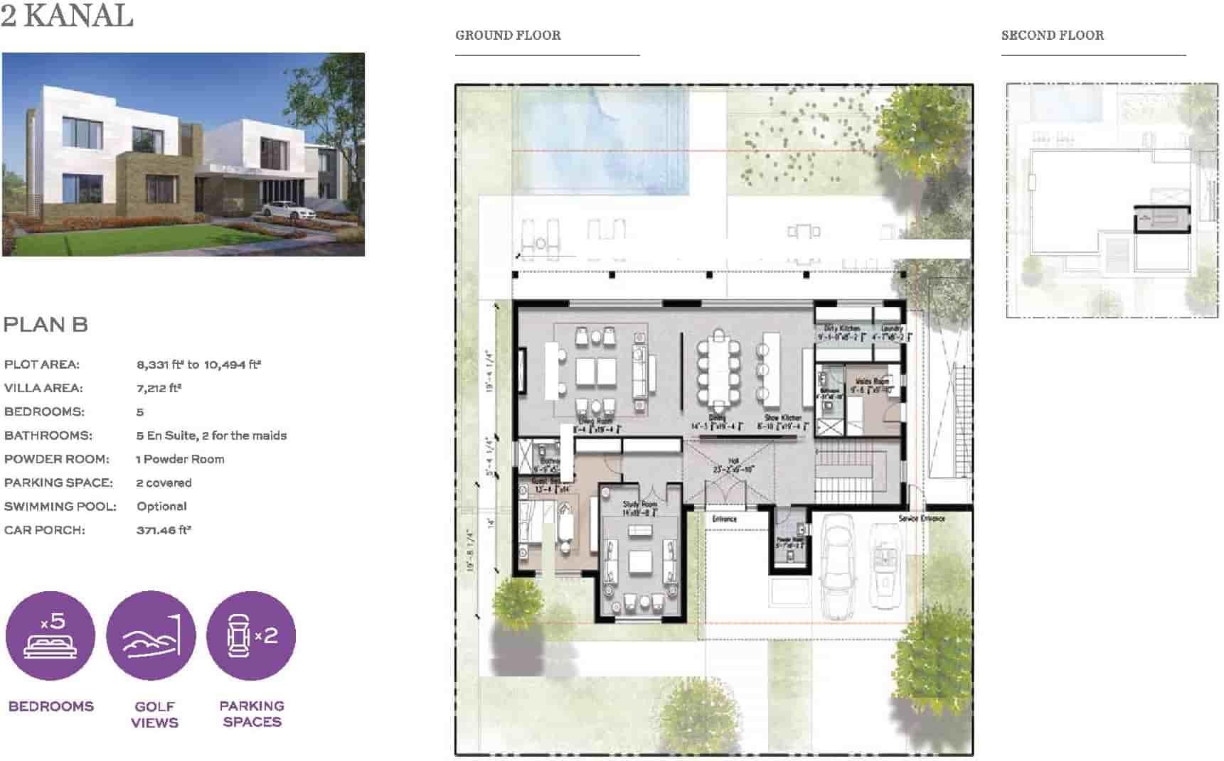 Eighteen 2 Kanal Villa Plan B