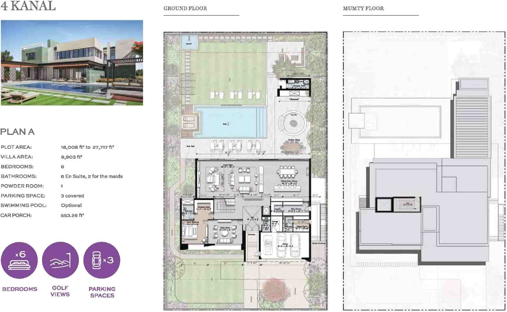 Eighteen 4 Kanal Villa Layout Plan A