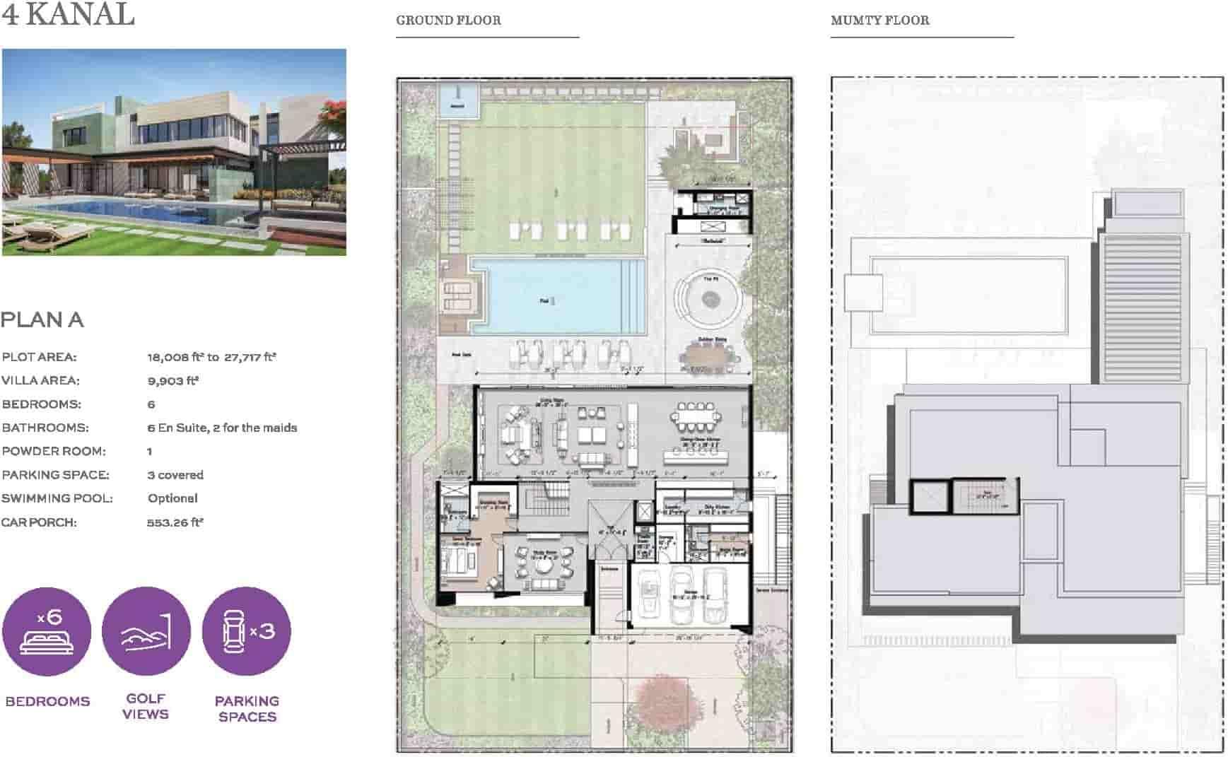 Eighteen 4 Kanal Villa Layout Plan A