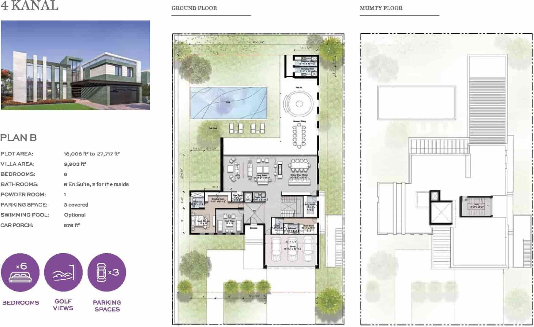 Eighteen 4 Kanal Villa Layout Plan B