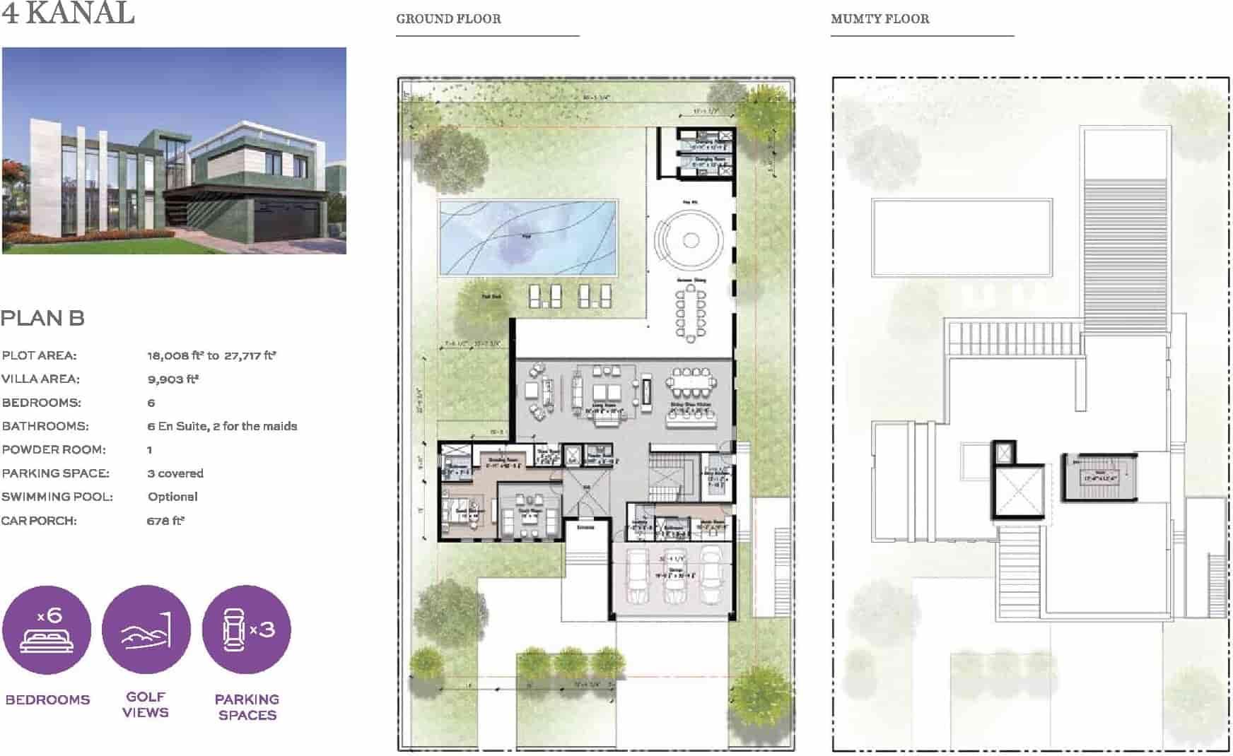 Eighteen 4 Kanal Villa Layout Plan B
