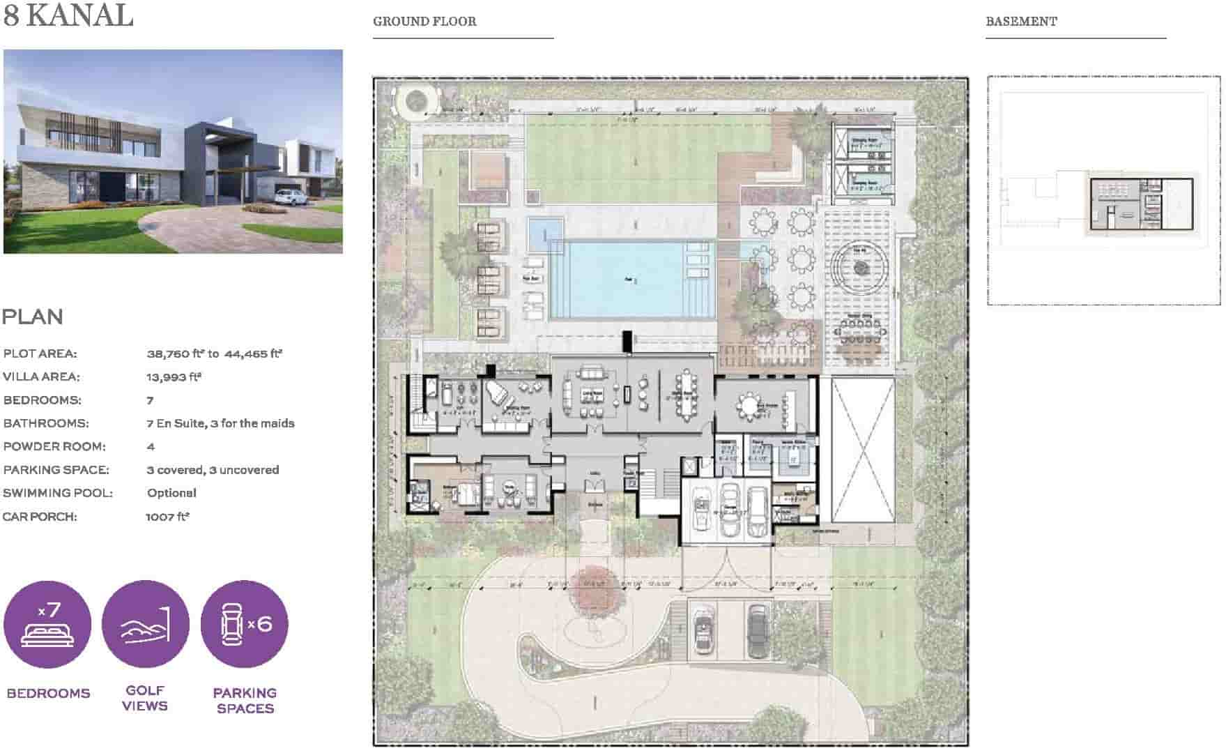 Eighteen 8 Kanal Villa Layout Plan