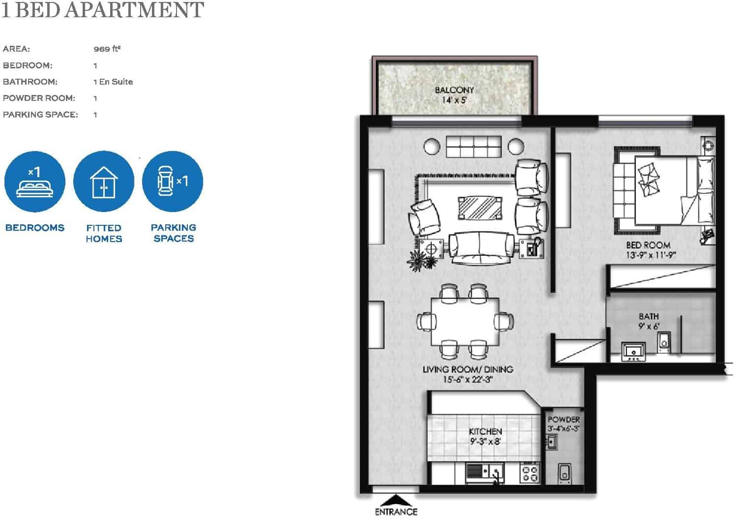 The Heights Eighteen 1 Bed Apartment Layout Plan