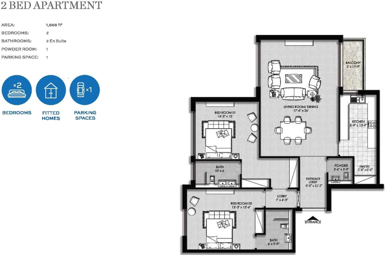 The Heights Eighteen 2 Bed Apartment Layout Plan