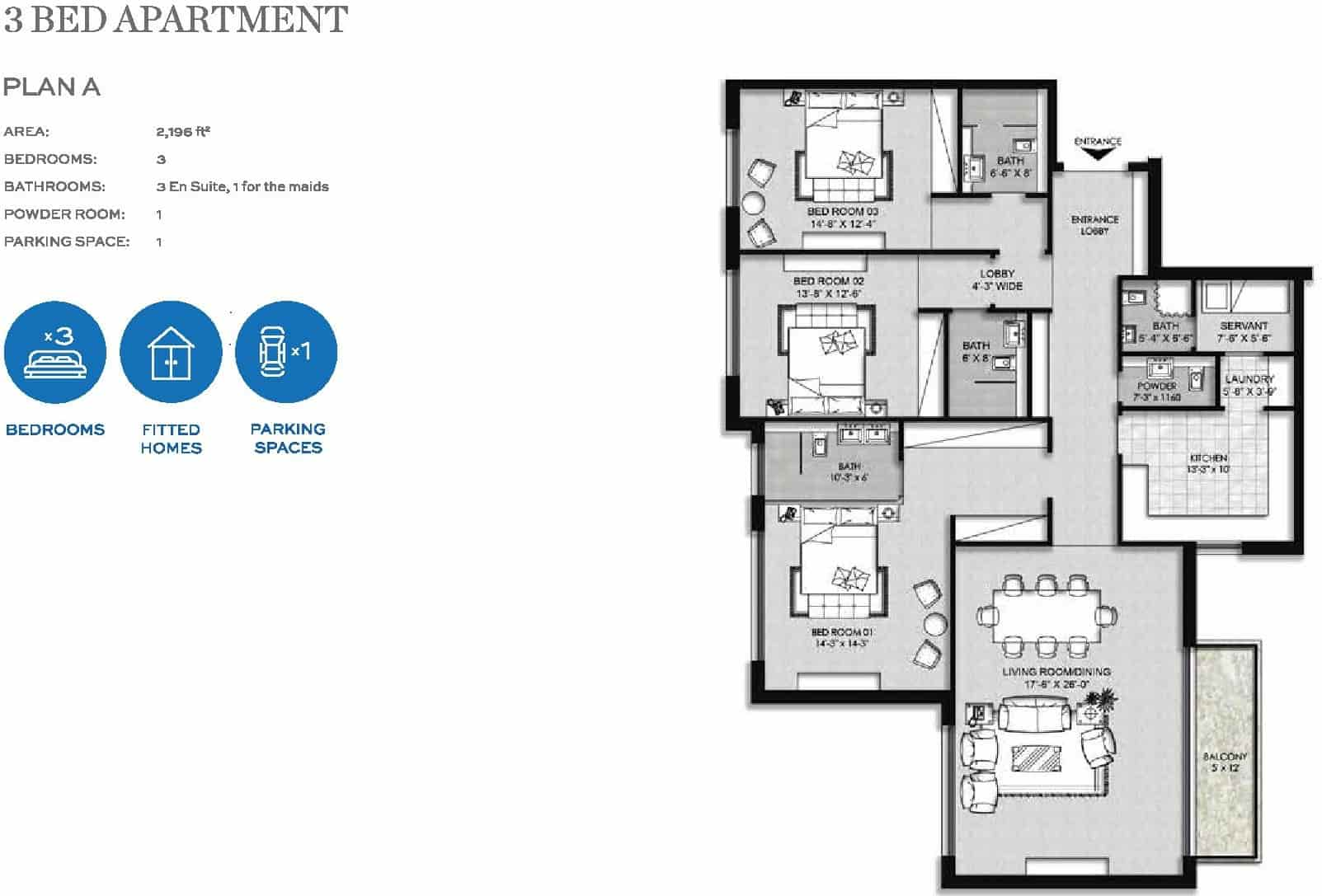 The Heights Eighteen 3 Bed Apartment Layout Plan A