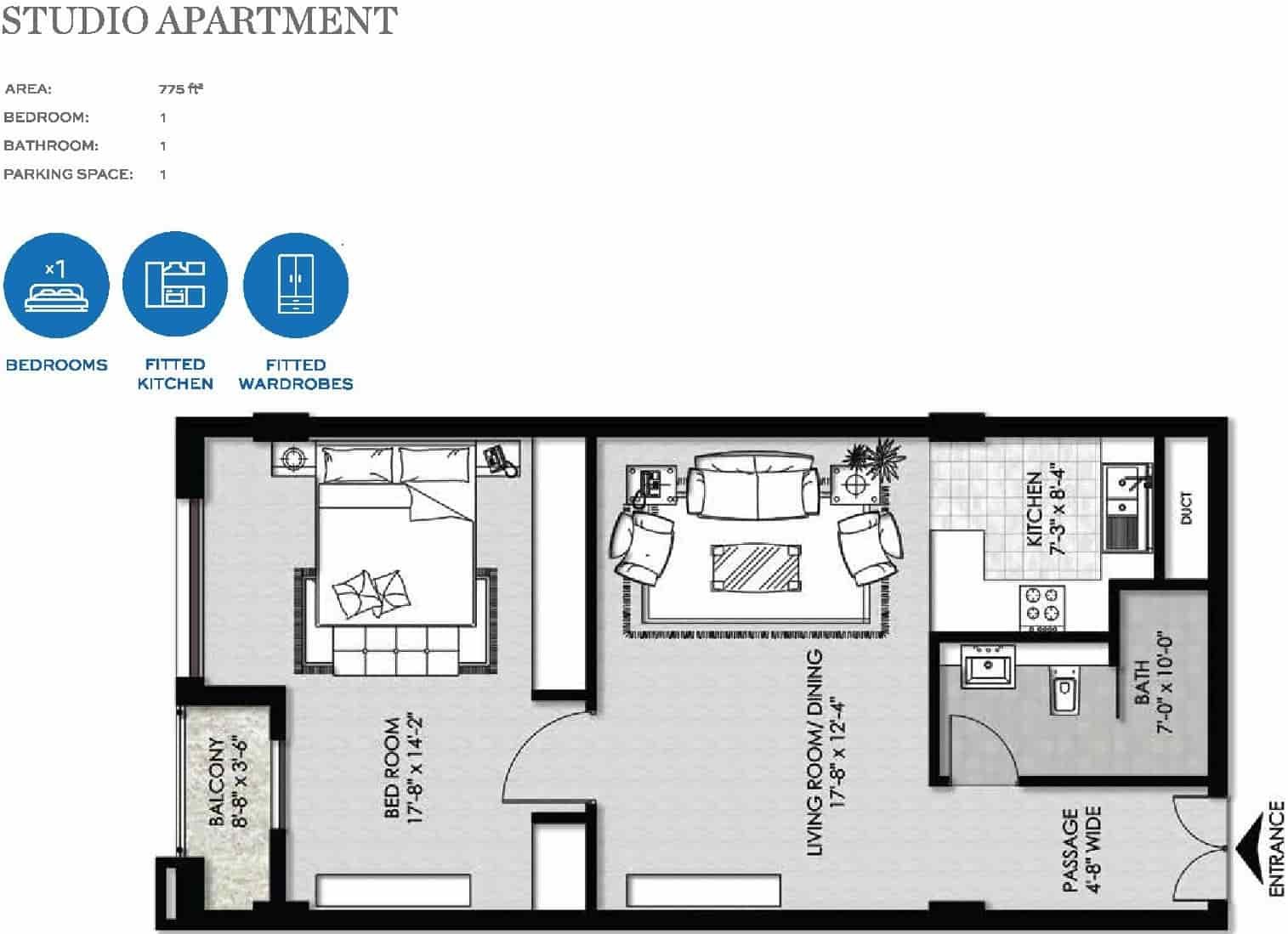 The Heights Eighteen Studio Apartment Layout