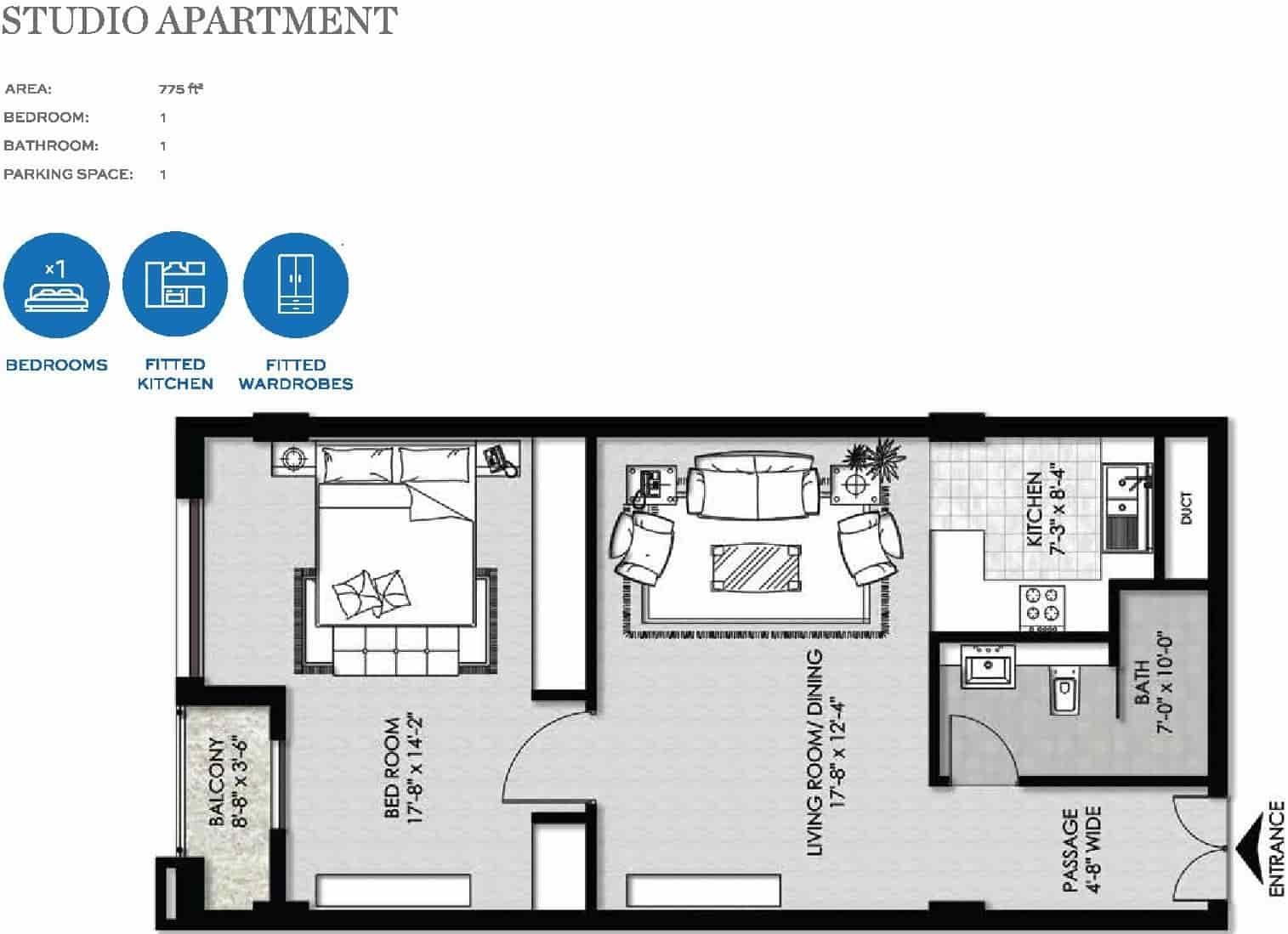 The Heights Eighteen Studio Apartment Layout
