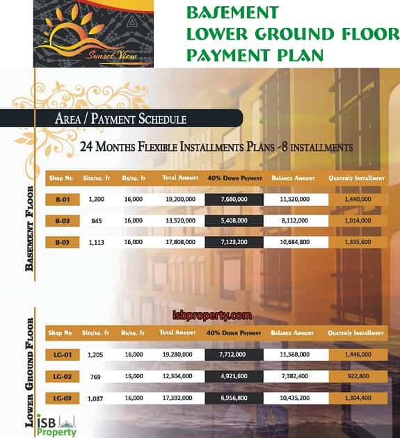 Sunset View Basement Lower Ground Floor Payment Plan