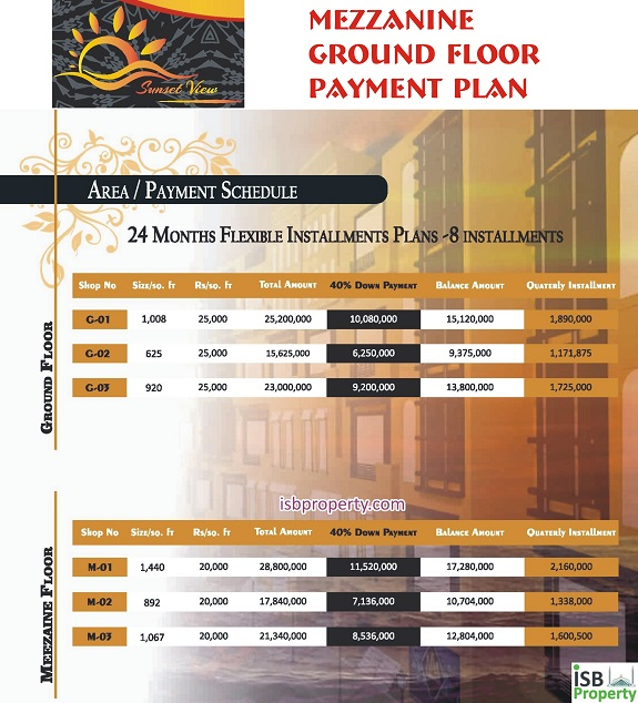 Sunset View Ground Mezzanine Payment Plan
