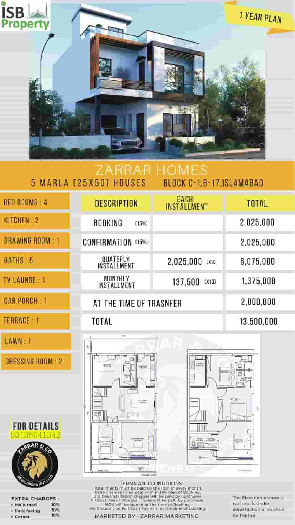 Zarar Homes 5 Marla 1 Year Plan 1