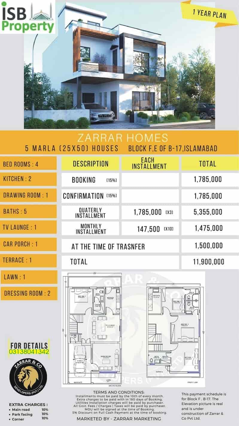 Zarar Homes 5 Marla 1 Years Plan 2