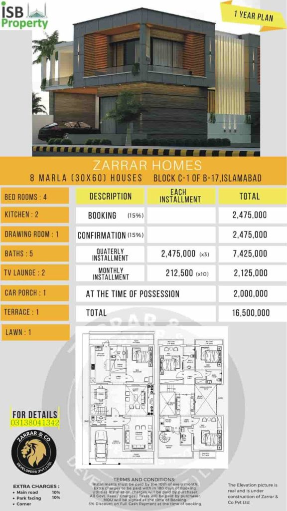 Zarar Homes 8 Marla 1 Year Plan 1