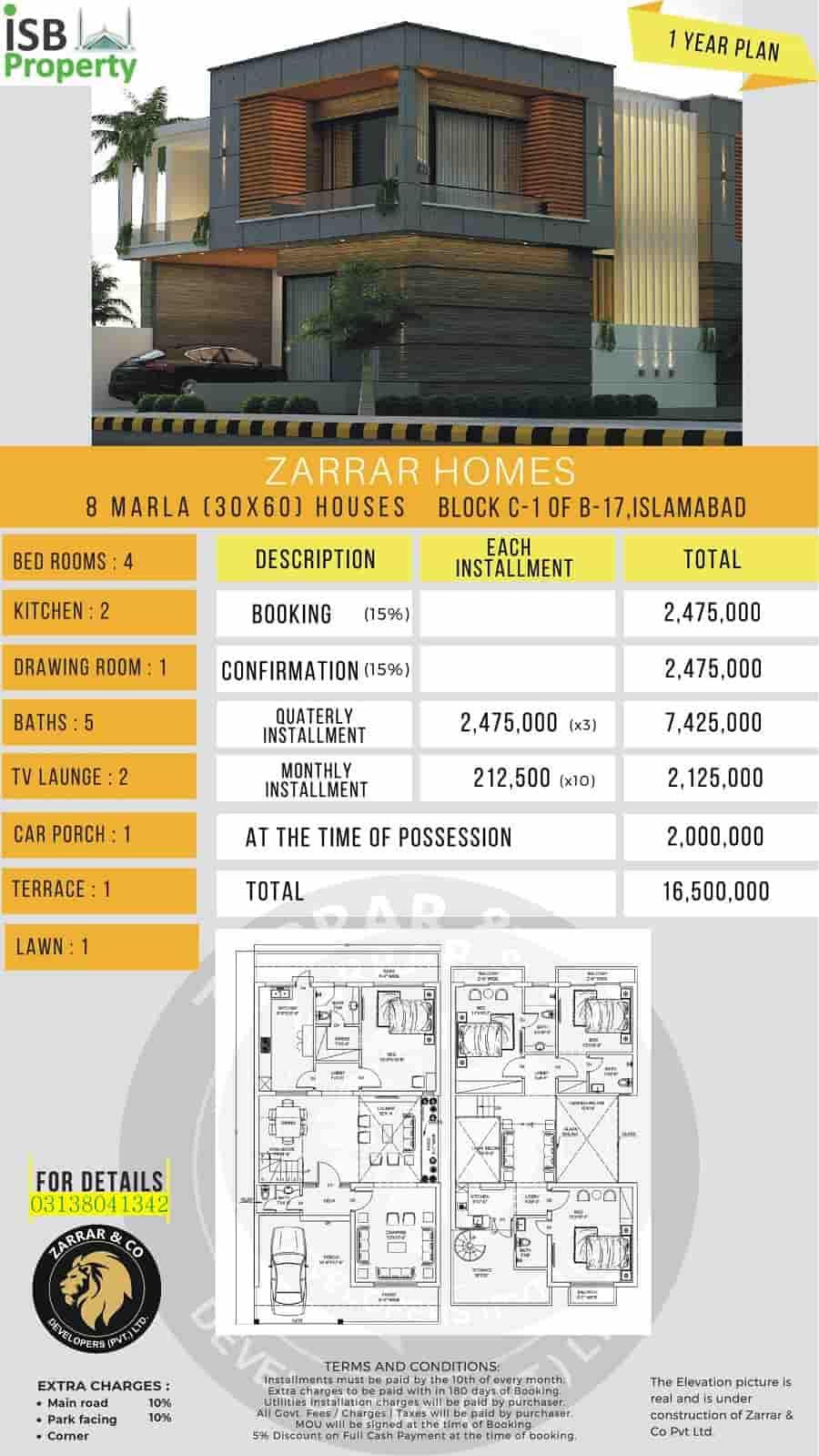 Zarar Homes 8 Marla 1 Year Plan 1