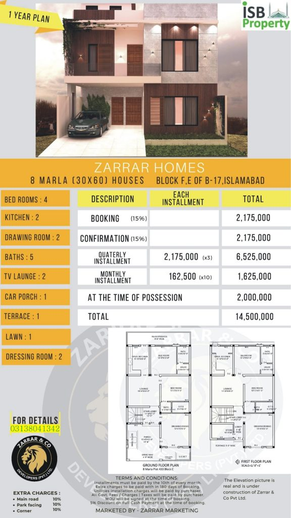 Zarar Homes 8 Marla 1 Years Plan 2