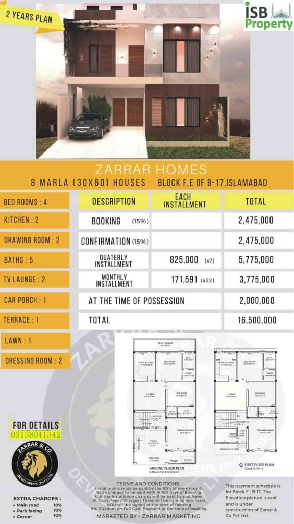 Zarar Homes 8 Marla 2 Years Plan 1