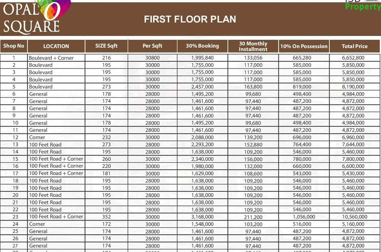Opal Square 1st Floor Payment Plan