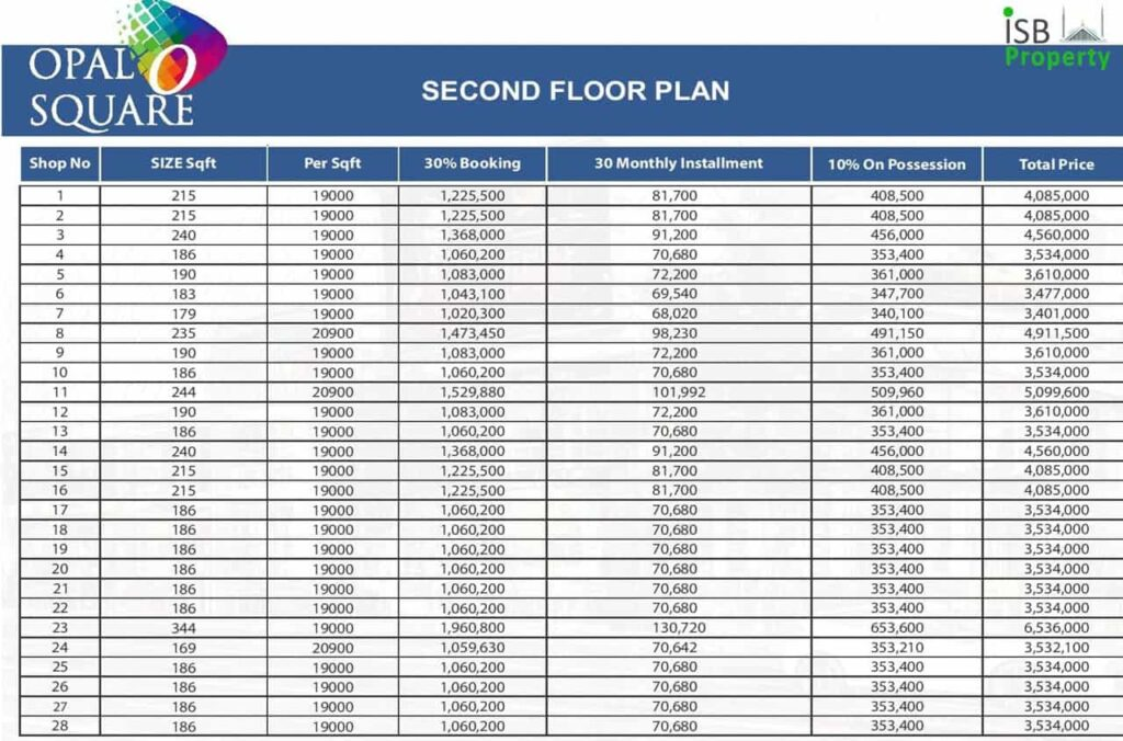 Opal Square 2nd Floor Payment Plan