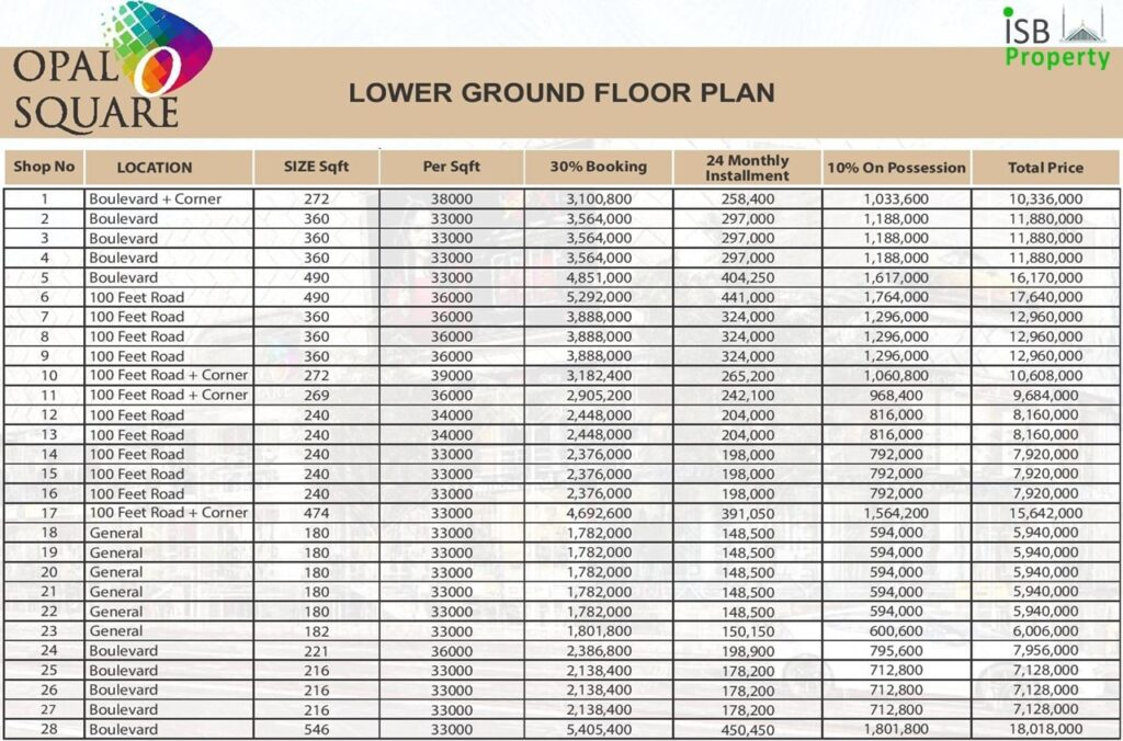 Opal Square Lower Ground Payment Plan