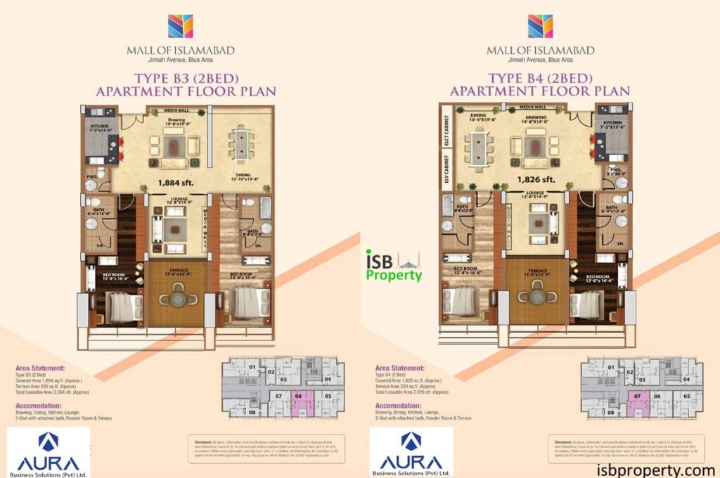 Mall of Islamabad 2 Bed Type B4 Layout