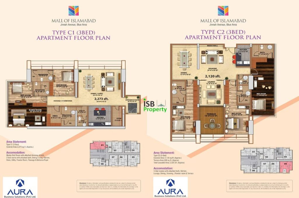 Mall of Islamabad 3 Bed C2 Layout