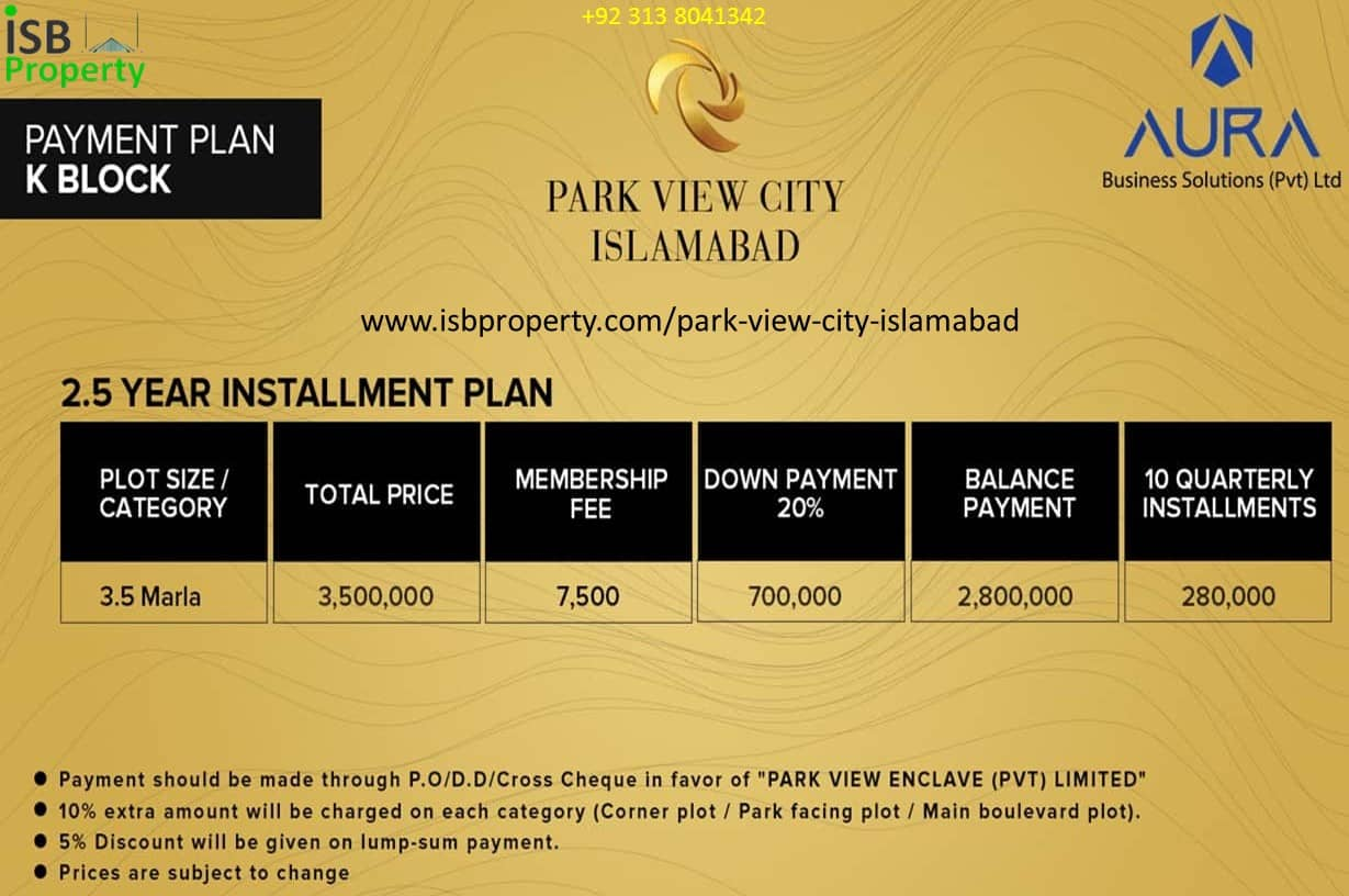 Park View City 3.5 Marla K Block