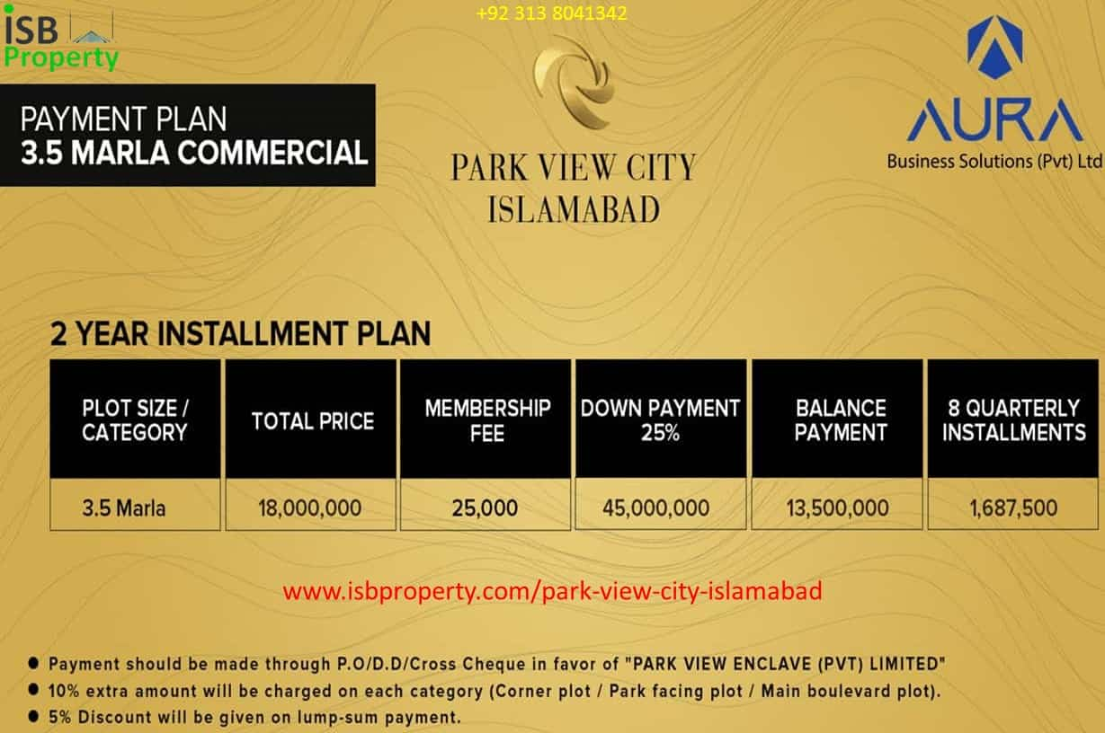 Park View City Overseas 3.5 Marla Commercial