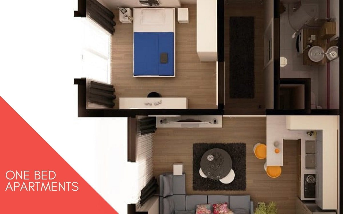 1 bed apartment Shanghai Heights 3d Plan-min