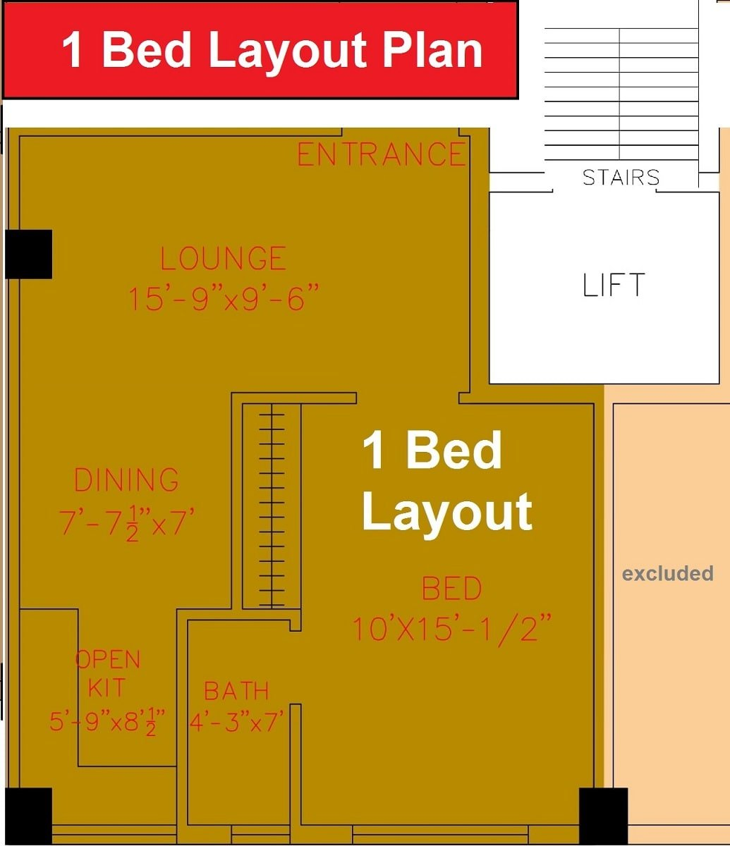 1 bed layout plan apartment Shanghai Heights-min