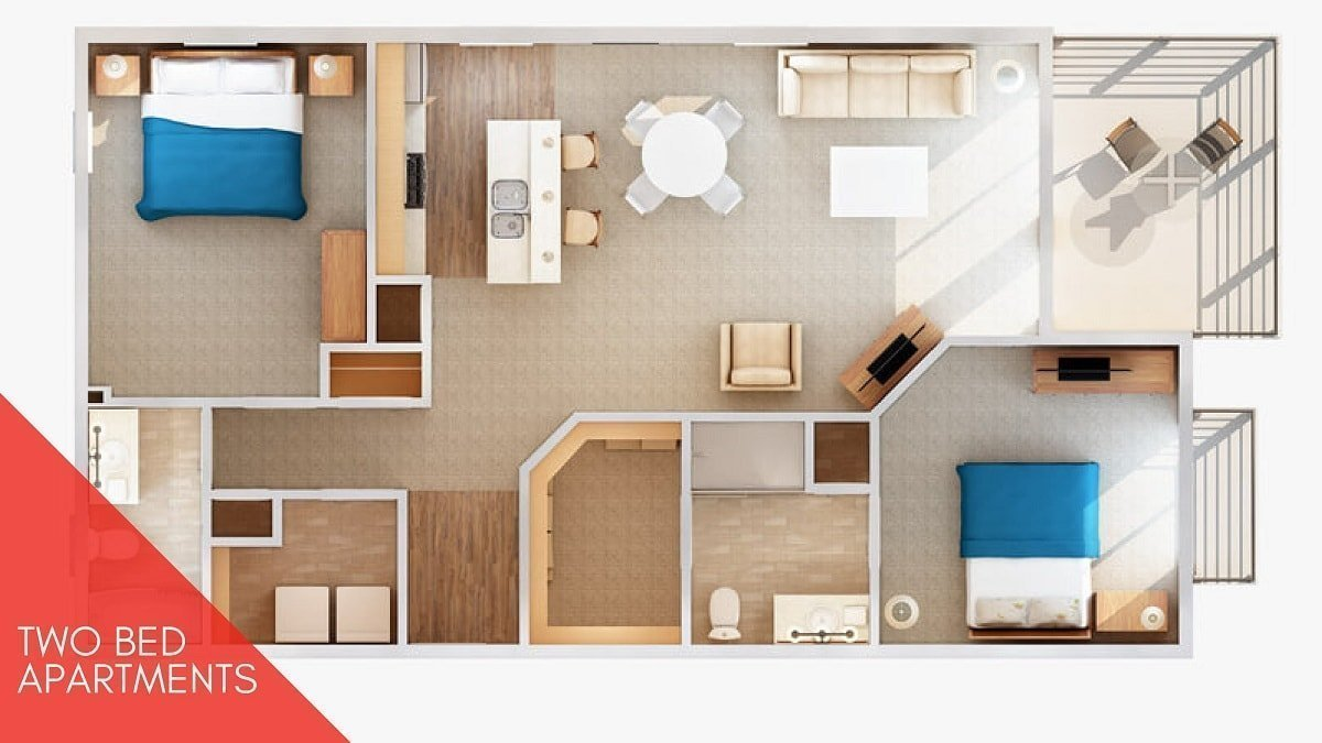 2 bed apartment Shanghai Heights 3d Plan-min