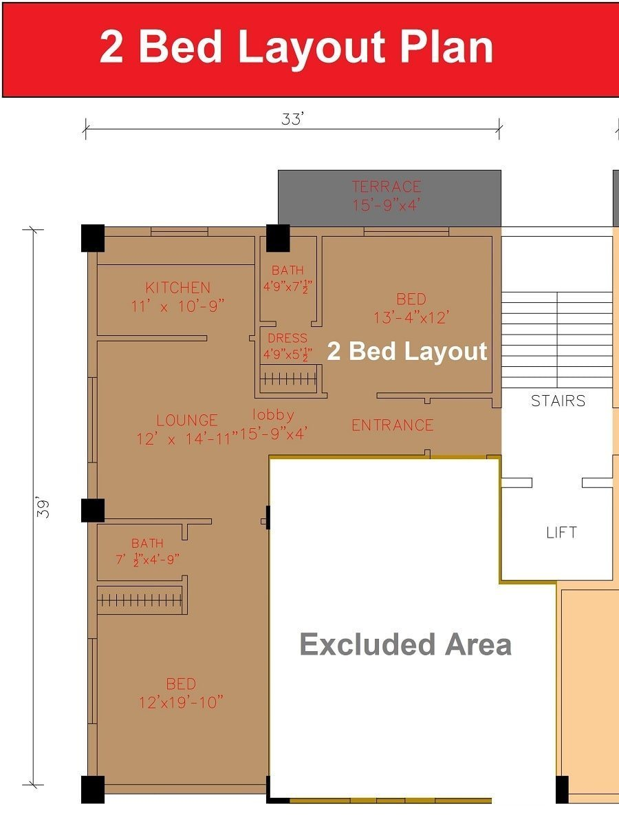 2 bed layout plan apartment Shanghai Heights-min